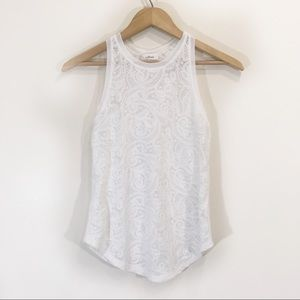 Wilfred Lace Stretchy Sheer Tank Top XS White